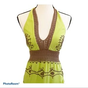 Handmade halter top with embroidery. Size Medium